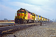 ATSF 2923 is the lead unit of 9 locomotives in at Edison, CA in December 1988.