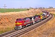 ATSF 522 heads for the Oklahoma border with its stack train in October 1995.