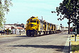 ATSF 5341 starts its street running in Fresno, CA in April 1988.