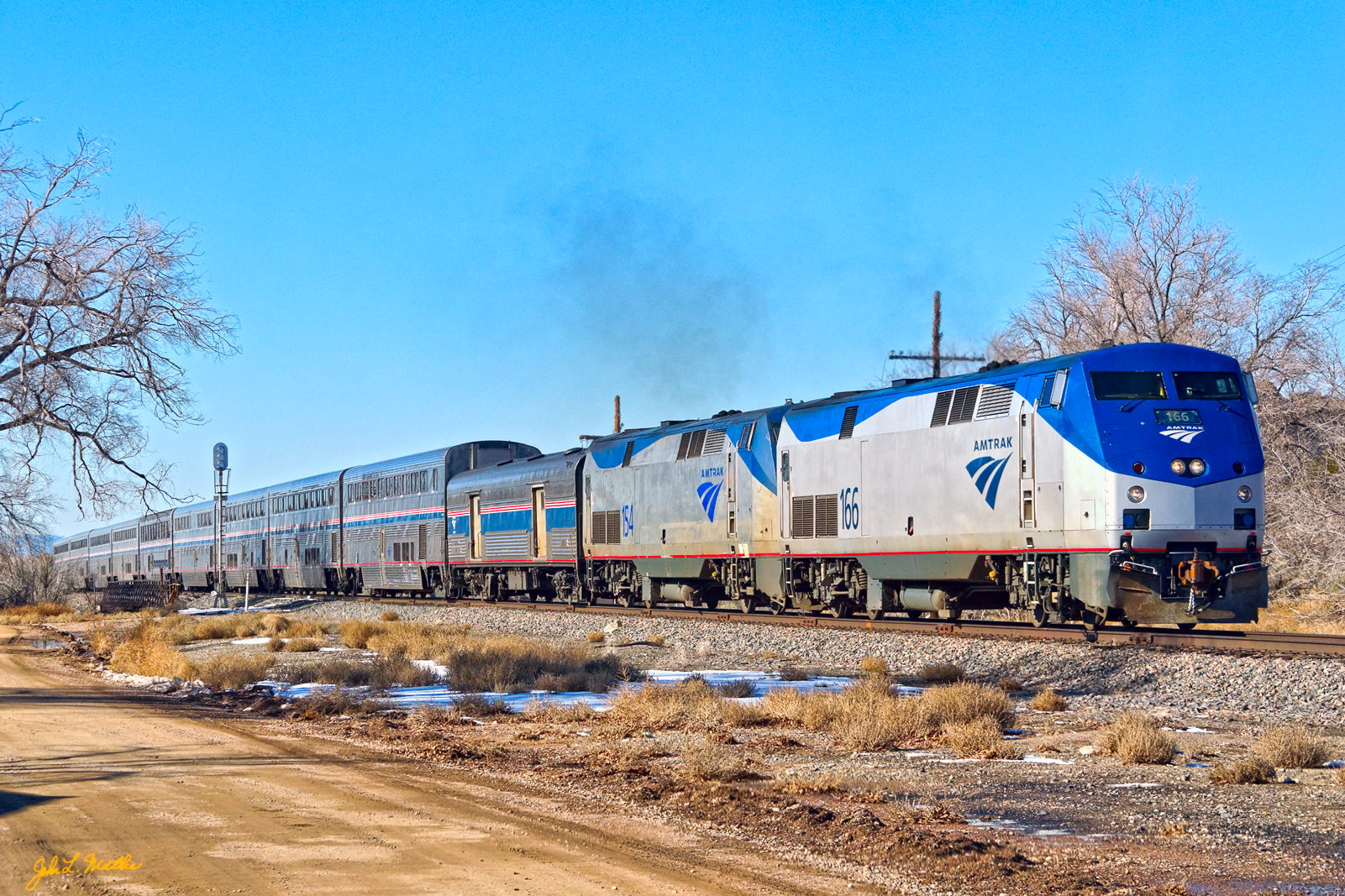 Amtrak 166 passes through Cerrillos, NM on November 30, 2013.