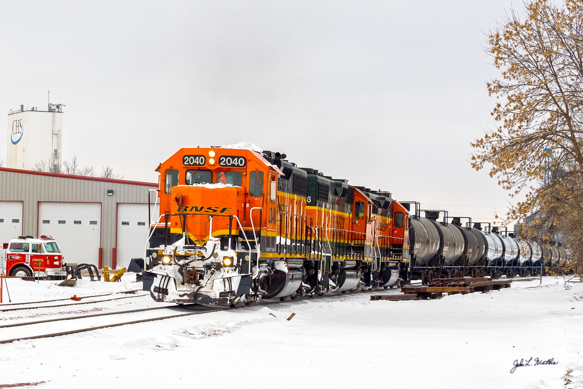 BNSF 2040 leaves Corson , SD on February 4, 2016.