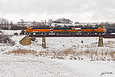 BNSF 2040 crosses bridge north of Corson SD while heading to Garretson SD on February 4, 2016.