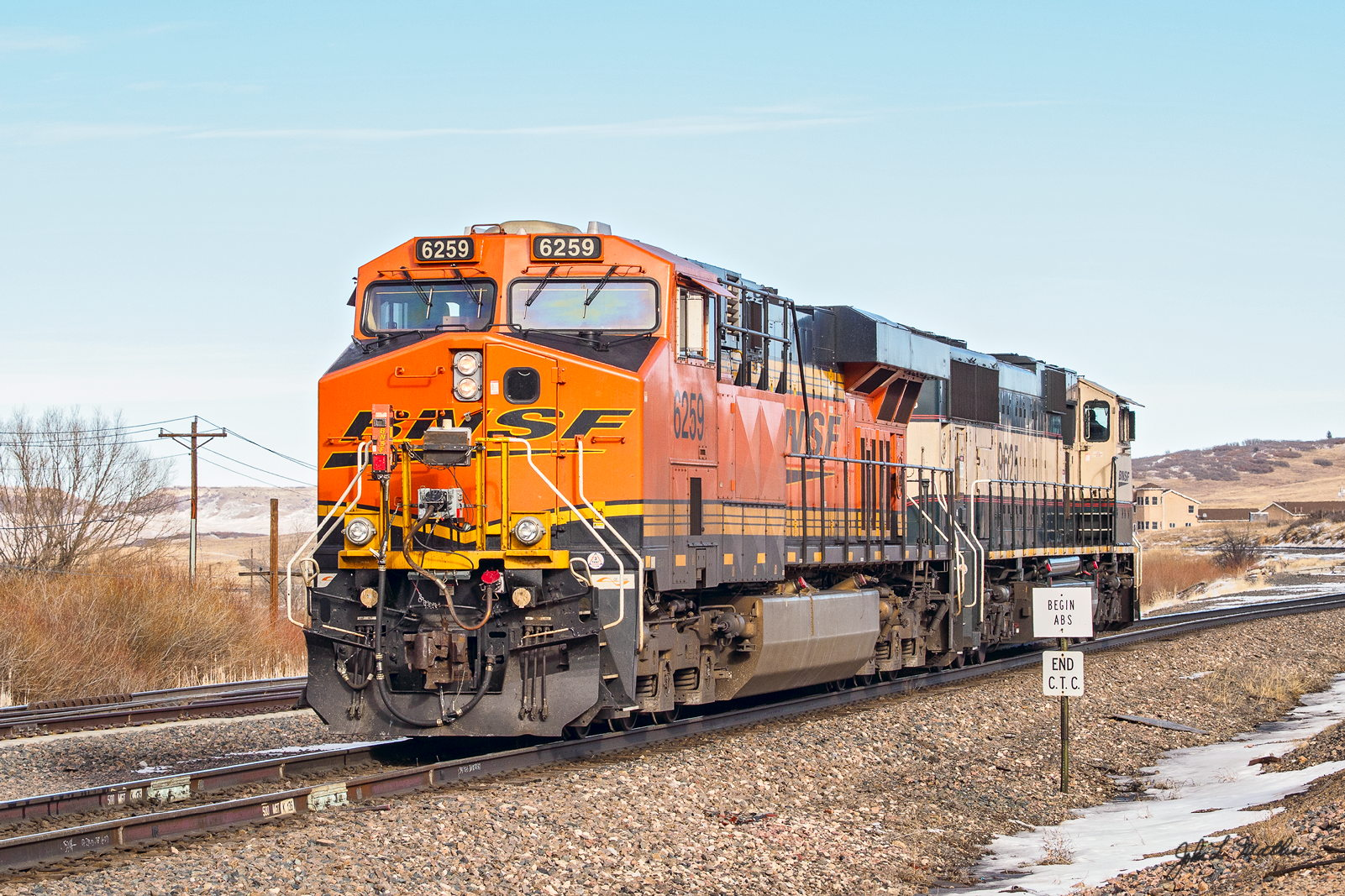 BNSF 6259 leaves Palmer Lake, CO on January 11, 2014.