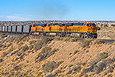 BNSF 6513 brings a coal train up the hill west of Dalies, NM on January 3, 2014.