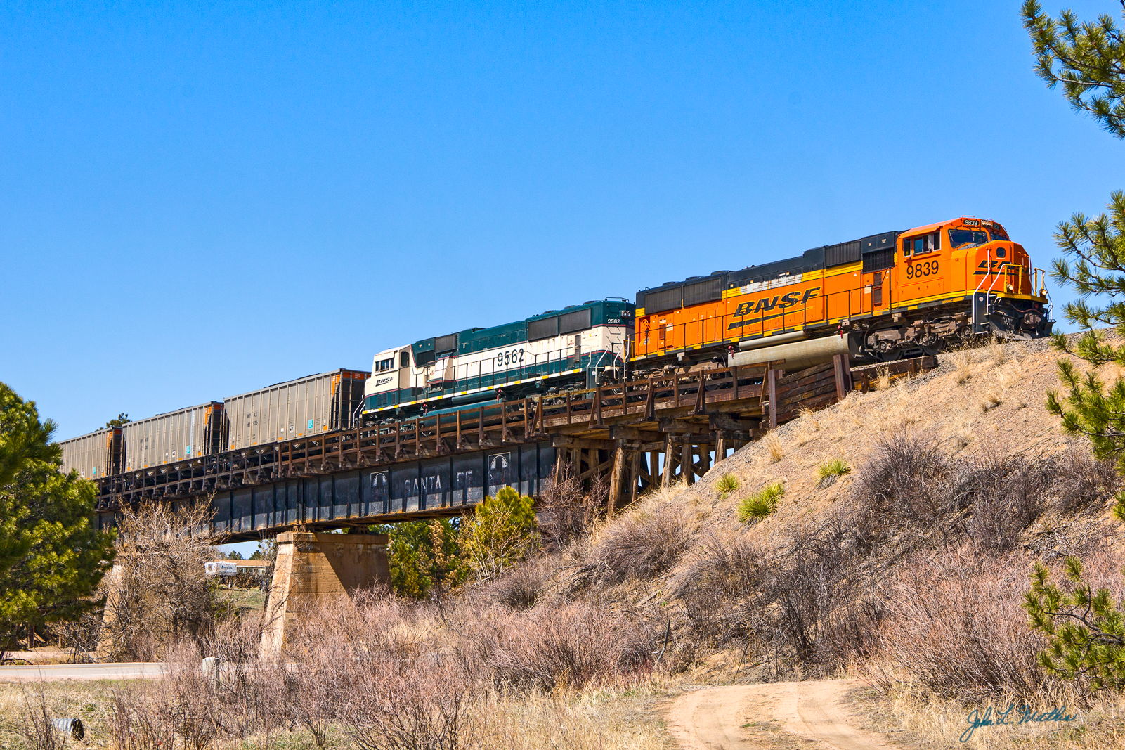 BNSF 9839 crosses the trestle at Larkspur, CO on April 27, 2013.