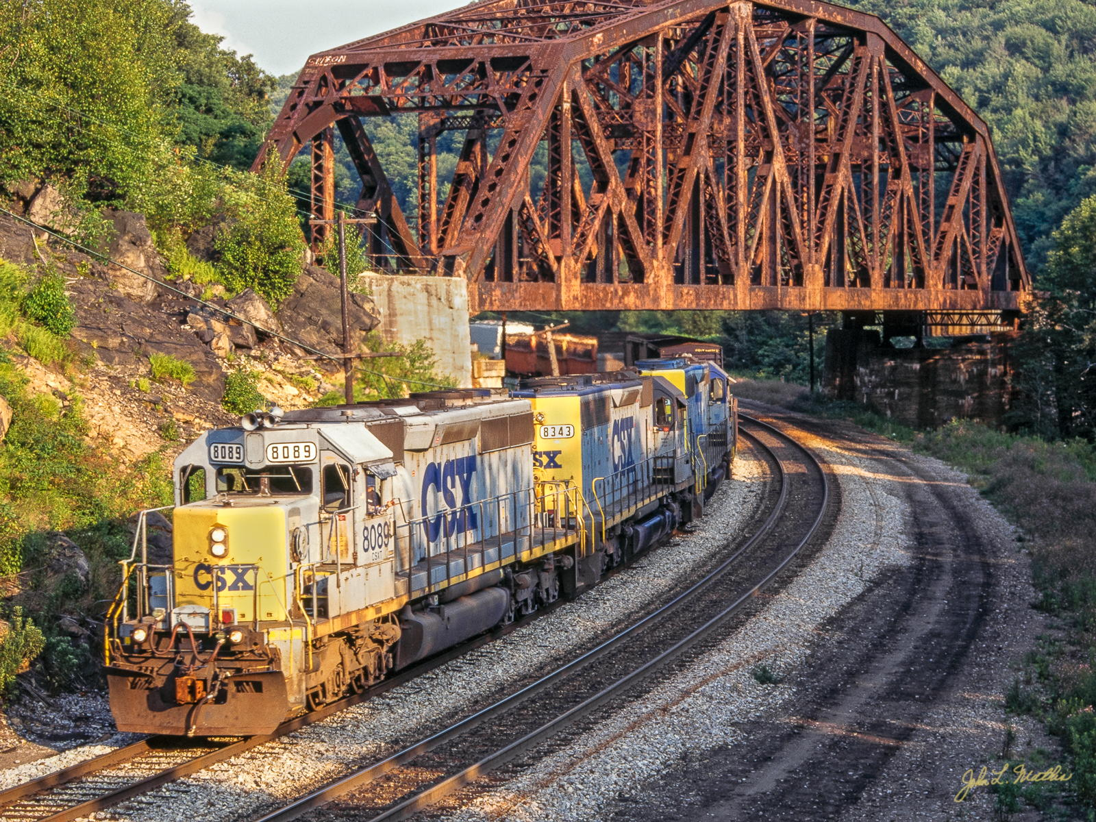 CSX SD40-2  8089 passes under the Keystone, PA Viaduct in July 1998
