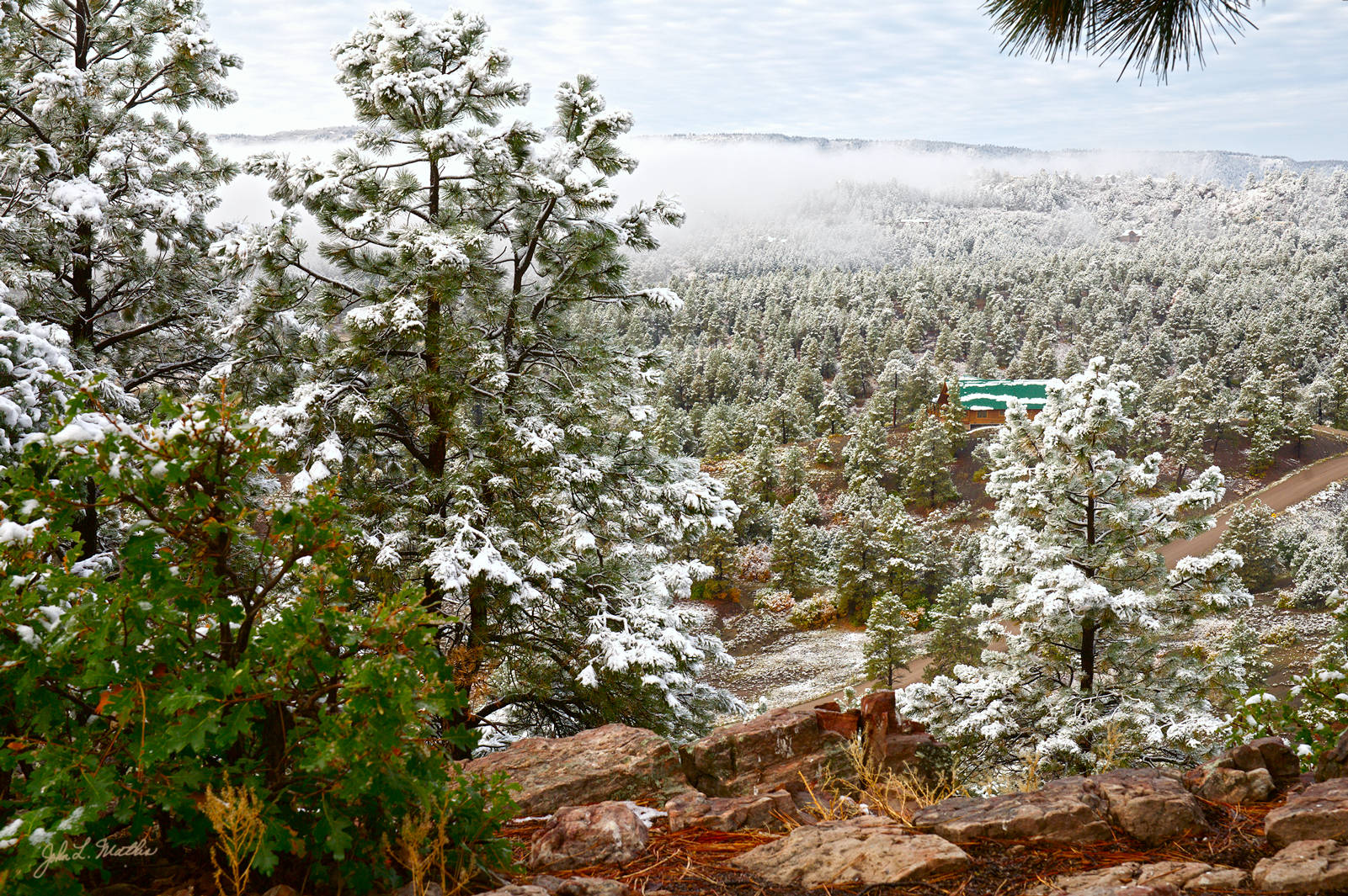 First snowfall of 2011-12 season on October 7-8, 2011 in Pagosa Springs, CO.